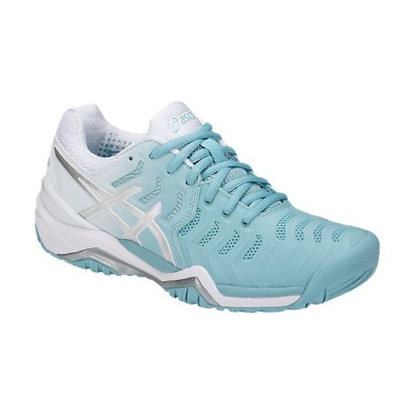 Asics – GEL-Resolution 7 Clay – Porcelain Blue - Silver -White diagonale